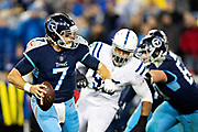 NASHVILLE, TN - DECEMBER 30:  Blaine Gabbert #7 of the Tennessee Titans drops back to pass during a game against the Indianapolis Colts at Nissan Stadium on December 30, 2018 in Nashville, Tennessee.  The Colts defeated the Titans 33-17.   (Photo by Wesley Hitt/Getty Images) *** Local Caption *** Blaine Gabbert