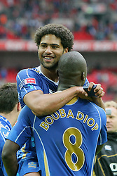 LONDON, ENGLAND - Saturday, May 17, 2008: Portsmouth's Glen Johnson celebrates winning the FA Cup with team-mate Papa Bouba Diop after the FA Cup Final against Cardiff City at Wembley Stadium. (Photo by Chris Ratcliffe/Propaganda)