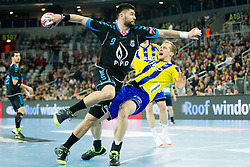 Tin Kontrec of PPD Zagreb and Ziga Mlakar of RK Celje Pivovarna Lasko during handball match between PPD Zagreb (CRO) and RK Celje Pivovarna Lasko (SLO) in 13th Round of Group Phase of EHF Champions League 2015/16, on February 27, 2016 in Arena Zagreb, Zagreb, Croatia. Photo by Urban Urbanc / Sportida