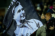 Derby fan flying a flag with a picture of former manager Brian Clough during the Sky Bet Championship match at the iPro Stadium, Derby<br /> Picture by Andy Kearns/Focus Images Ltd 0781 864 4264<br /> 24/02/2016