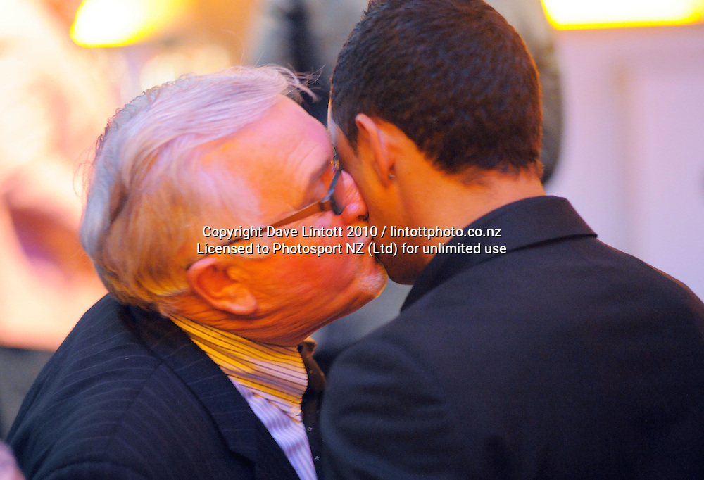 Sir Peter Leitch plants a kiss on Benji Marshall cheek after presenting him with his Dog Tag. 2010 New Zealand Rugby League Awards at Museum Building, Buckle Street, Wellington on Thursday, 21 October 2010. Photo: Dave Lintott / photosport.co.nz