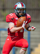 Stuart Galloway (#81) catches a touchdown pass during the BAFA Northern Division match between Edinburgh Wolves and Sheffield Giants at Meggetland Sports Complex, Edinburgh, Scotland on 1 July 2018. Picture by Malcolm Mackenzie.
