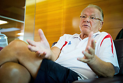 Dusan Ivkovic, head coach of Serbia during interview at training camp of Serbian Basketball team for Eurobasket 2013 on July 25, 2013 in Hotel Kompas, Kranjska Gora, Slovenia. (Photo by Vid Ponikvar / Sportida.com)