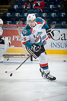 KELOWNA, CANADA - MARCH 7: Tomas Soustal #15 of Kelowna Rockets warms up against the Spokane Chiefs on March 7, 2015 at Prospera Place in Kelowna, British Columbia, Canada.  (Photo by Marissa Baecker/Shoot the Breeze)  *** Local Caption *** Tomas Soustal;