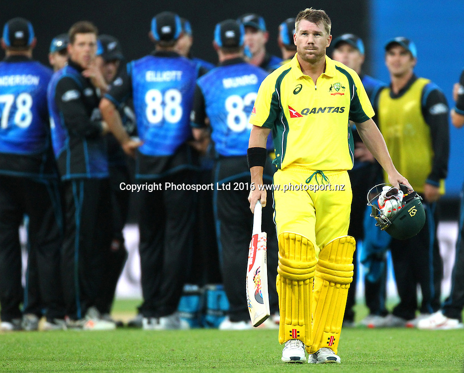 David Warner is given out LBW on 98 runs. New Zealand Black Caps v Australia, 2nd match of the Chappell-Hadlee ODI Cricket Series. Westpac Stadium, Wellington, New Zealand. Saturday 6th February 2016. Copyright Photo.: Grant Down / www.photosport.nz