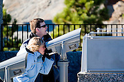 South Dakota SD USA, Mount Rushmore National Monument viewing the sculptures through a telescope
