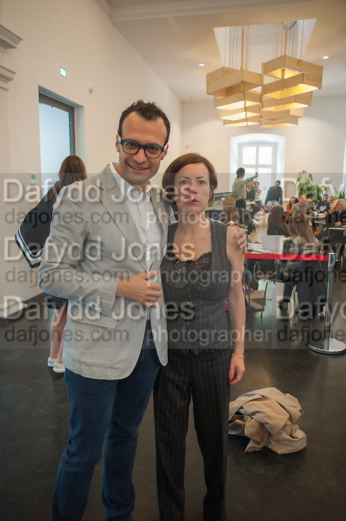 VADIM GRIGORIAN; CHUS MARTINEZ Breakfast and introduction to Documenta (13), at Ständehaus<br /> Venue: Standehaus, Absolut Maybe bar area, Documenta ( 13 ), Kassel, Germany. 14 September 2012.