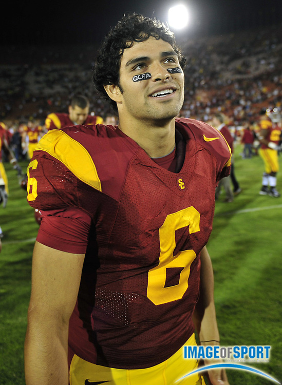 Nov 1, 2008; Los Angeles, CA, USA; Southern California Trojans quarterback Mark Sanchez (6) walks of the field after 56-0 victory over the Washington Huskies at the Los Angeles Memorial Coliseum.