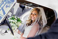 Litchfield, Connecticut. A new bride prepares to leave a ceremony in Connecticut's Northwest Corner town of Litchfield.