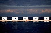 Swimmer, Merewether Ocean Baths Newcastle, East Coast Australia. Ocean Baths are popular along the Australian Coast.