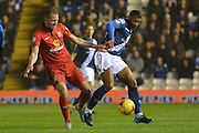 Birmingham City midfielder David Davis battles with Blackburn Rovers striker Jordan Rhodes during the Sky Bet Championship match between Birmingham City and Blackburn Rovers at St Andrews, Birmingham, England on 3 November 2015. Photo by Alan Franklin.