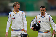 Yorkshire's Steven Patterson and Yorkshire's Jack Brooks walk back to the pavilion at the close of the 3rd days play of the Specsavers County Champ Div 1 match between Somerset County Cricket Club and Yorkshire County Cricket Club at the County Ground, Taunton, United Kingdom on 17 May 2016. Photo by Graham Hunt.