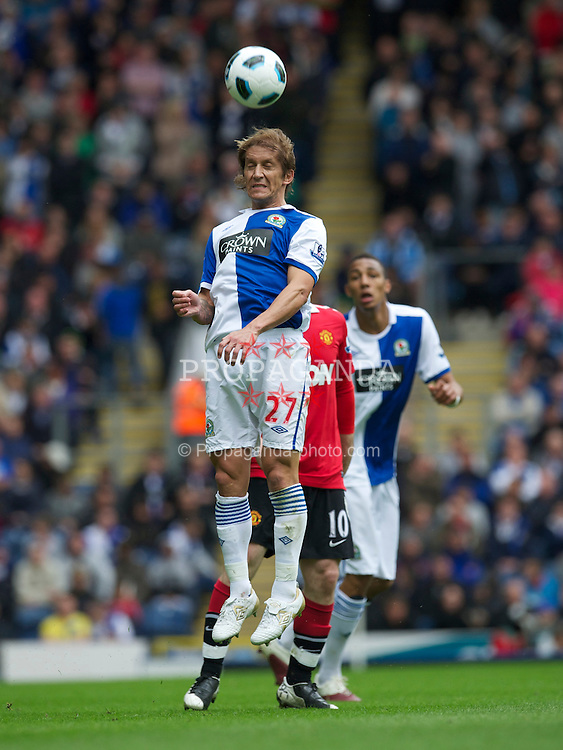 BLACKBURN, ENGLAND - Saturday, May 14, 2011: Blackburn Rovers' Michel Salgado in action against Manchester United during the Premiership match at Ewood Park. (Photo by David Rawcliffe/Propaganda)