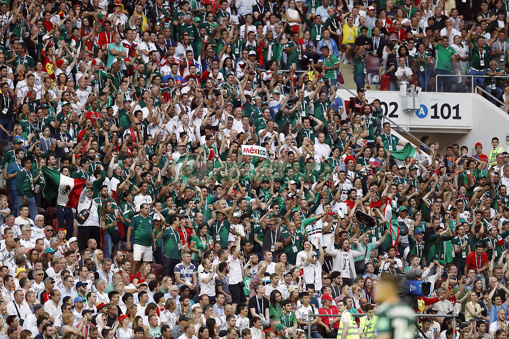 Fans of Mexico celebrating the victory during the 2018 FIFA World Cup Russia group F match between Germany and Mexico at the Luzhniki Stadium on June 17, 2018 in Moscow, Russia