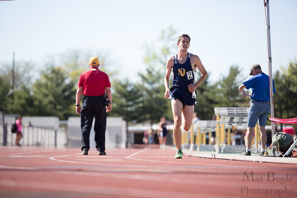 The College of New Jersey's Mike Olivola competes in the men's 10000 meter at the NJAC Track and Field Championships at Richard Wacker Stadium on the campus of  Rowan University  in Glassboro, NJ on Saturday May 4, 2013. (photo / Mat Boyle)