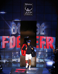 Roger Federer walks out for the men's singles match during day five of the Nitto ATP Finals at The O2 Arena, London. PRESS ASSOCIATION Photo. Picture date: Thursday November 15, 2018. See PA story TENNIS London. Photo credit should read: John Walton/PA Wire. RESTRICTIONS: Editorial use only, No commercial use without prior permission.