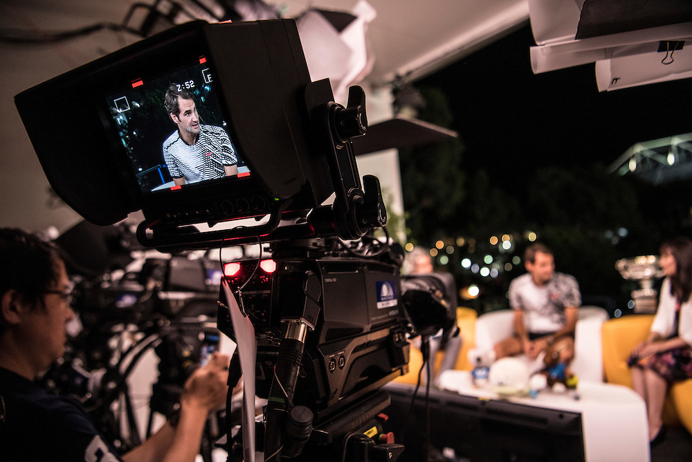 Roger Federer of Switzerland during tv interview after the men's final on day fourteen of the 2017 Australian Open at Melbourne Park on January 29, 2017 in Melbourne, Australia.<br /> (Ben Solomon/Tennis Australia)