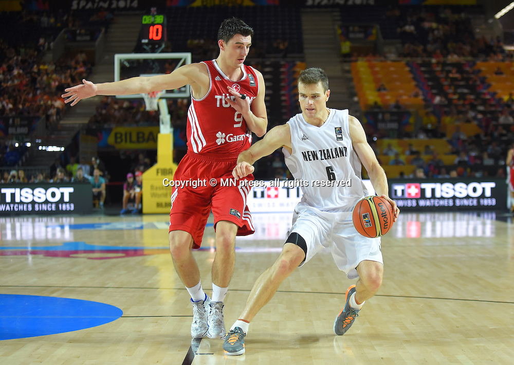 Kirk Penney of New Zealand basketball team in action during FIBA World cup match against Turkey at Bizkaia arena, Bilbao Spain Foto: MN PRESS PHOTO<br /> Basketball, New Zealand, Turkey, FIBA World cup Spain 2014