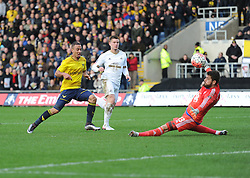 Kemar Roofe of Oxford United scores the 3 goal of the game. - Mandatory byline: Alex James/JMP - 10/01/2016 - FOOTBALL - Kassam Stadium - Oxford, England - Oxford United v Swansea City - FA Cup Third Round