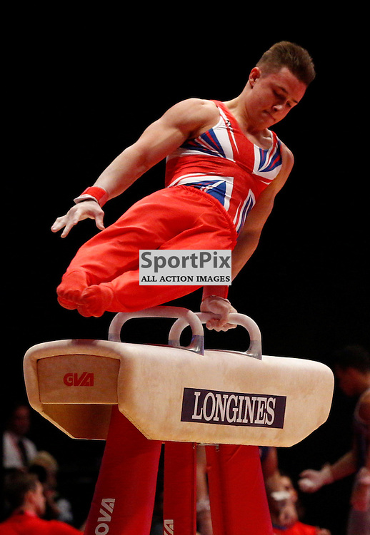 2015 Artistic Gymnastics World Championships being held in Glasgow from 23rd October to 1st November 2015.....Brinn Bevan (Great Britain) competing in the Pommel Horse competition..(c) STEPHEN LAWSON | SportPix.org.uk