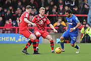 AFC Wimbledon striker Andy Barcham (17) dribbling during the EFL Sky Bet League 1 match between AFC Wimbledon and Walsall at the Cherry Red Records Stadium, Kingston, England on 25 February 2017. Photo by Matthew Redman.