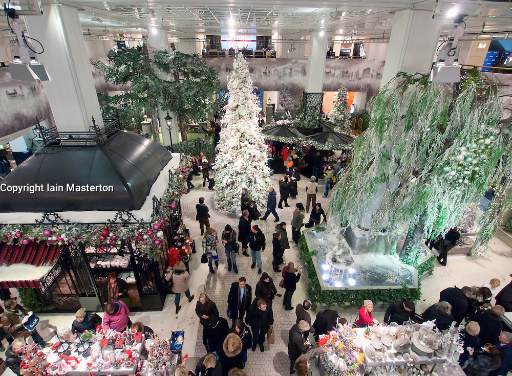 interior of famous kadewe kaufhaus des westens department store at christmas in berlin germany. Black Bedroom Furniture Sets. Home Design Ideas