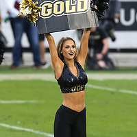 A UCF dancer is seen during a NCAA football game between the University of South Florida Bulls and the UCF Knights at Spectrum Stadium on Friday, November 24, 2017 in Orlando, Florida. (Alex Menendez via AP)