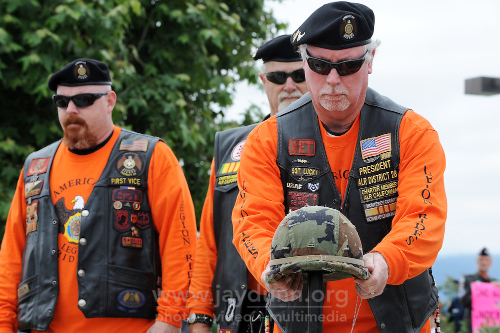"""Veterans Sean Ramsey, left, Bob Schreiber and Mike Hohler during the """"Presentation of the Fallen Soldier"""" on Memorial Day in Salinas."""