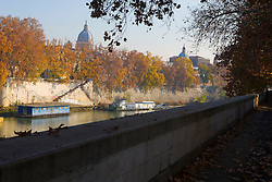 A pathway along the River Tiber, Rome, Italy, December 1, 2007.