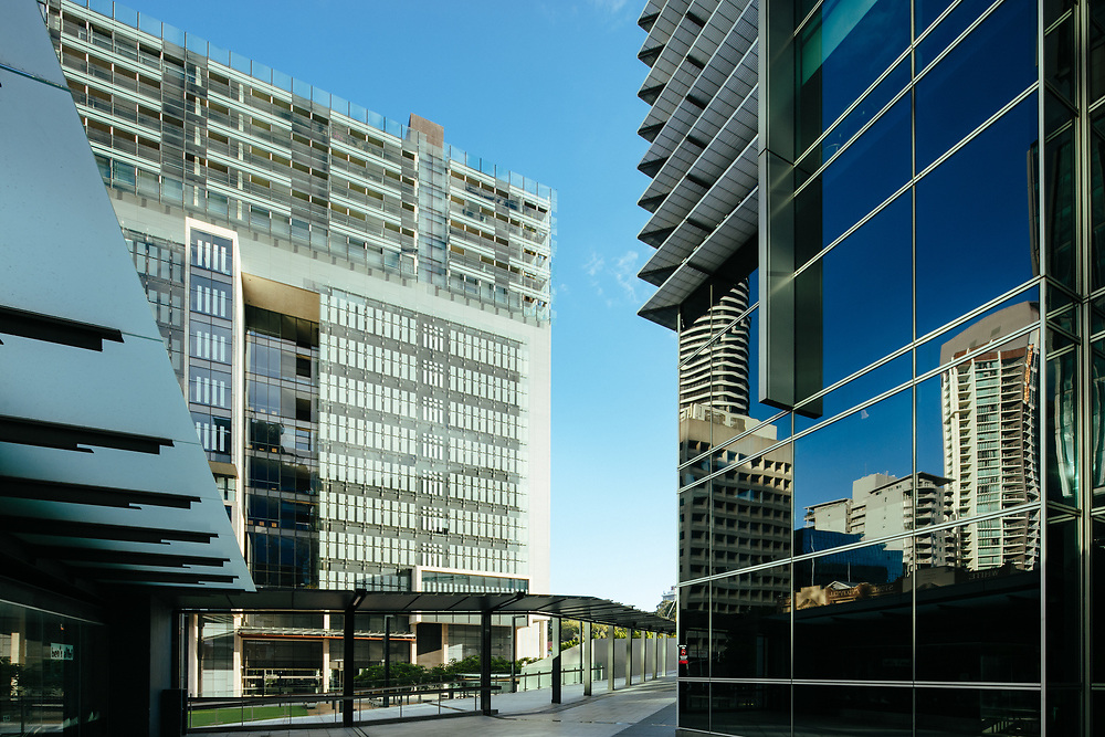 Exterior of Queen Elizabeth II Courts of Law building on Roma Street, Brisbane CBD.