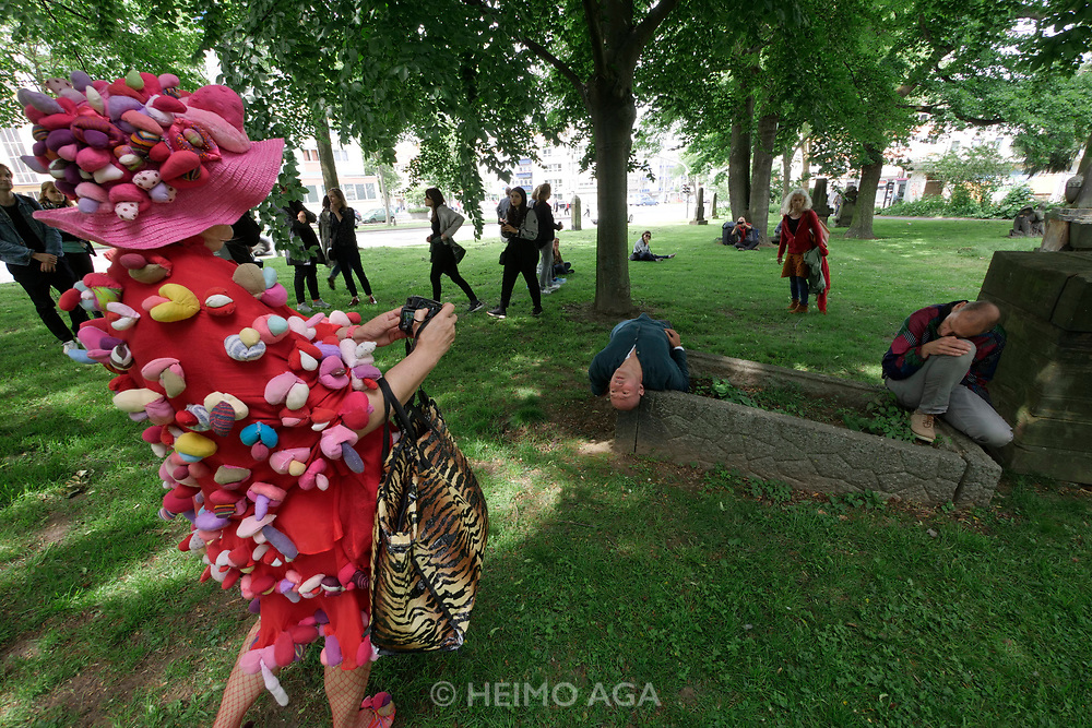 Kassel, Germany. Opening days of documenta14.<br /> Lutherpark.<br /> Prinz Gholam: Speaking of Pictures, performance