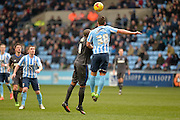 Coventry City Defender Baily Cargill clears during the Sky Bet League 1 match between Coventry City and Bury at the Ricoh Arena, Coventry, England on 13 February 2016. Photo by Dennis Goodwin.
