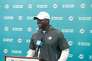 Miami Dolphins head coach Brian Flores address the media prior to indoor practice during training camp at the Baptist Health Training Facility at Nova Southeastern University, Friday, August 2, 2019, in Davie, Fla. (Kim Hukari/Image of Sport)