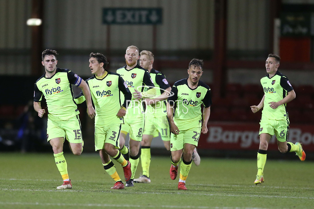 Exeter captain Jordan Moore Taylor celebrates an equaliser for Exeter in time added on during the EFL Sky Bet League 2 match between Crewe Alexandra and Exeter City at Alexandra Stadium, Crewe, England on 20 February 2018. Picture by Graham Holt.