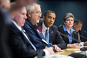 31.OCTOBER.2012. WASHINGTON D.C.<br /> <br /> PRESIDENT BARACK OBAMA LISTENS TO TRANSPORTATION SECRETARY RAY LAHOOD SPEAK DURING A BRIEFING ON THE RESPONSE TO HURRICANE SANDY AT FEMA HEADQUARTERS IN WASHINGTON, D.C. PICTURED, FROM LEFT, ARE SECRETARY LAHOOD; ENERGY SECRETARY STEVEN CHU; JOHN BRENNAN, ASSISTANT TO THE PRESIDENT FOR HOMELAND SECURITY AND COUNTERTERRORISM; FEMA ADMINISTRATOR CRAIG FUGATE; HOMELAND SECURITY SECRETARY JANET NAPOLITANO; AND DEFENSE SECRETARY LEON PANETTA.  <br /> <br /> BYLINE: EDBIMAGEARCHIVE.CO.UK<br /> <br /> *THIS IMAGE IS STRICTLY FOR UK NEWSPAPERS AND MAGAZINES ONLY*<br /> *FOR WORLD WIDE SALES AND WEB USE PLEASE CONTACT EDBIMAGEARCHIVE - 0208 954 5968*
