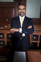 Man wearing suit in court, portrait