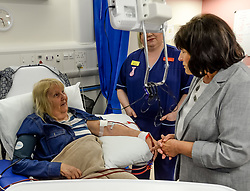 Pictured: Ms Freeman meets dialysis patient Ann Brown from Renfrew who is waiting for a transplant.<br /> <br /> Health Secretary Jeane Freeman visited patients waiting for transplants and successful transplant patients to highlight the uptake in organ donation registrations.<br /> <br /> &copy; Dave Johnston / EEm