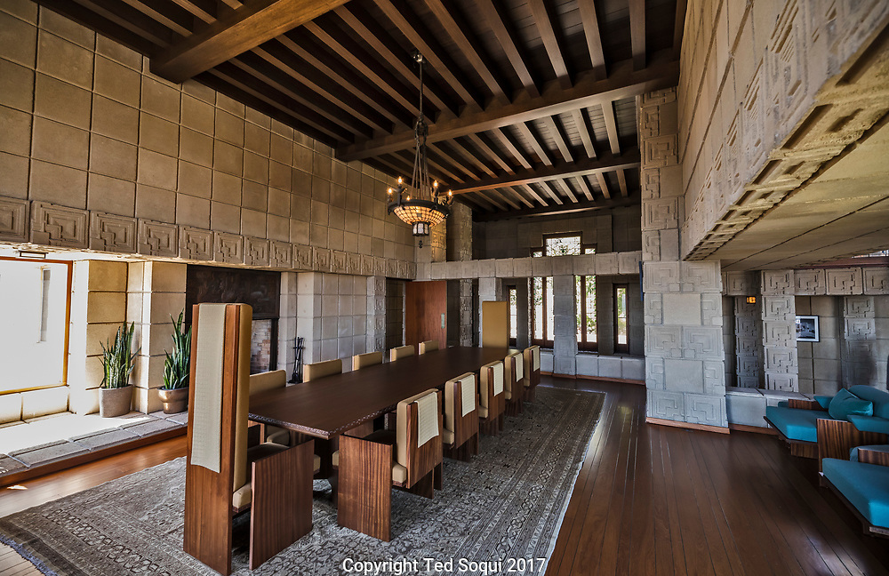 The Ennis House designed by Frank Lloyd Wright.<br /> Main dinning room and table.
