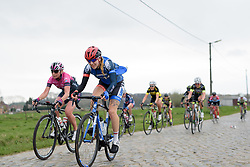 Keira McVitty bounces across the cobbles at Pajot Hills Classic 2017. A 121 km road race on March 29th 2017 in Gooik, Belgium. (Photo by Sean Robinson/Velofocus)