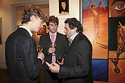 Conor Mosley llynch, Michael Lawley and Michael Rogatchi, The Real Dream, private view for an exhibition of work by Michael Rogatchi. Cork St. London.  5 December 2006. ONE TIME USE ONLY - DO NOT ARCHIVE  © Copyright Photograph by Dafydd Jones 248 CLAPHAM PARK RD. LONDON SW90PZ.  Tel 020 7733 0108 www.dafjones.com