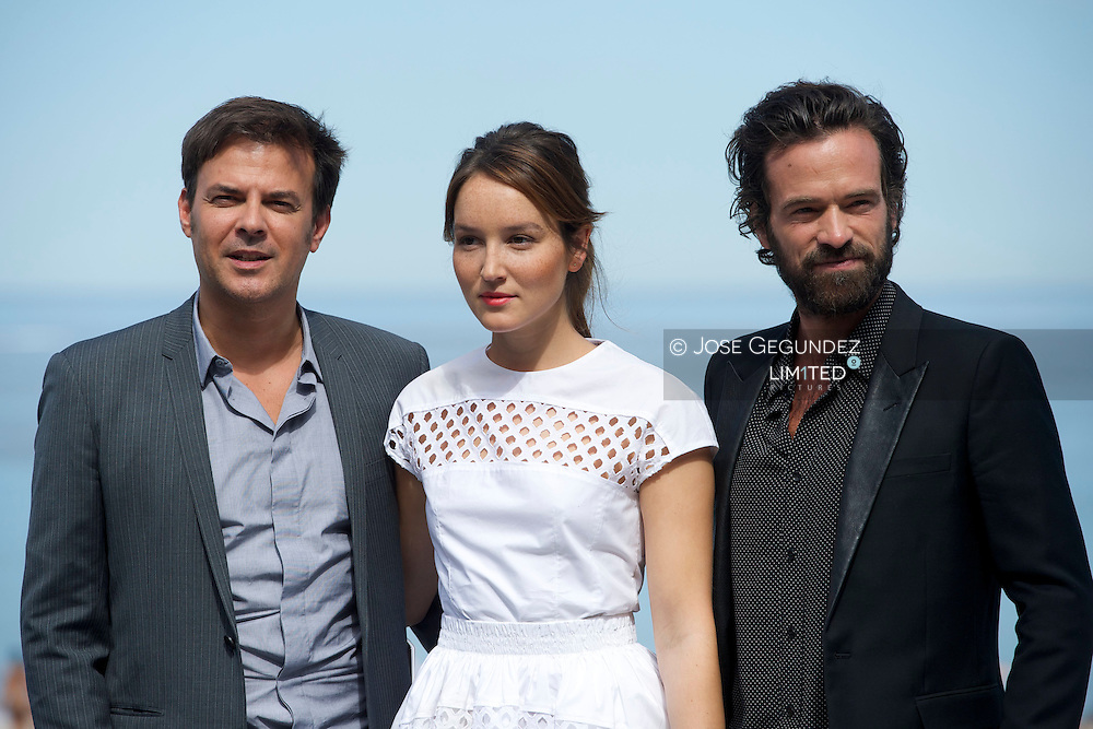 François Ozon, Anais Demoustier and Romain Duris attend 'Une nouvelle amie' (The new girlfriend) Photocall during the 62nd San Sebastian International Film Festival at the Kursaal Palace on September 20, 2014 in San Sebastian, Spain.