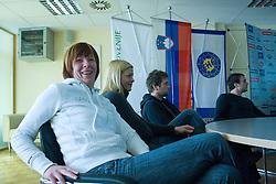 Sergeja Stefanisin, Spela Cerar, Primoz Pori and Uros Zorman at press conference of Slovenian Handball federation, when presented new web page http://www.rokometna-zveza.si/, on January 15, 2009, in RZS, Ljubljana, Slovenia. (Photo by Vid Ponikvar / Sportida)