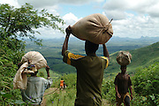 Farmers carry their crops on their heads to the markets in the village of Gurue. Mount Namuli, Nr Gurue, Mozambique.
