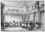 Marshals of France swearing an oath of loyalty to to Napoleon I. Engraving.