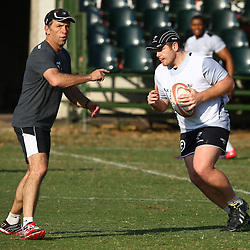 DURBAN, SOUTH AFRICA Tuesday 30th June 2015 - Brendan Venter with Lourens Adriaanse during the Cell C Sharks training session at Growthpoint Kings Par in Durban, South Africa. (Photo by Steve Haag)