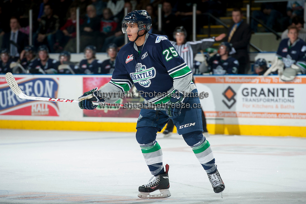 KELOWNA, CANADA - APRIL 5: Ethan Bear #25 of the Seattle Thunderbirds skates against the Kelowna Rockets on April 5, 2014 during Game 2 of the second round of WHL Playoffs at Prospera Place in Kelowna, British Columbia, Canada.   (Photo by Marissa Baecker/Getty Images)  *** Local Caption *** Ethan Bear;
