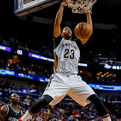 Mar 31, 2017; New Orleans, LA, USA; New Orleans Pelicans forward Anthony Davis (23) dunks against the Sacramento Kings during the second half of a game at the Smoothie King Center. The Pelicans defeated the Kings 117-89. Mandatory Credit: Derick E. Hingle-USA TODAY Sports