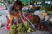 Hat Chaweng (beach). The market. Tropical fruit. Rambutan, mangosteen etc.