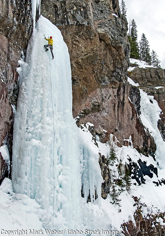 Mark Weber ice climbing a route called The Scepter which is rated WI-5 and located in Hyalite Canyon in the Gallatin Mountains near the city of Bozeman in southern Montana