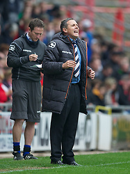 WREXHAM, WALES - Monday, May 7, 2012: Luton Town's manager Paul Buckle during the Football Conference Premier Division Promotion Play-Off 2nd Leg against Wrexham at the Racecourse Ground. (Pic by David Rawcliffe/Propaganda)